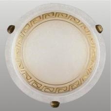 AURA 2xE27/60W, Antická saténová zlatá, Alabastrový dekor