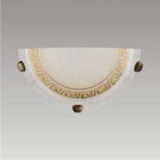 AURA 1xE27/60W, 1/2, Antická saténová zlatá, Alabastrový dekor