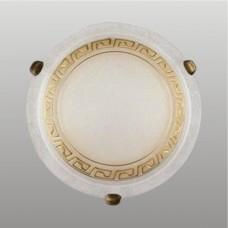 AURA 1xE27/60W, Antická saténová zlatá, Alabastrový dekor
