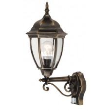 Venkovní nástěnné svítidlo se senzorem Rabalux Toronto 8380 Černá, Mosaz